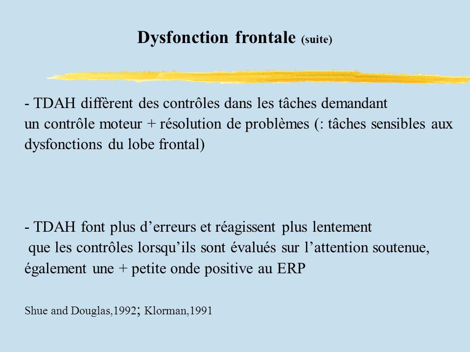 - TDAH diffèrent des contrôles dans les tâches demandant un contrôle moteur + résolution de problèmes (: tâches sensibles aux dysfonctions du lobe frontal) - TDAH font plus derreurs et réagissent plus lentement que les contrôles lorsquils sont évalués sur lattention soutenue, également une + petite onde positive au ERP Shue and Douglas,1992 ; Klorman,1991 Dysfonction frontale (suite)