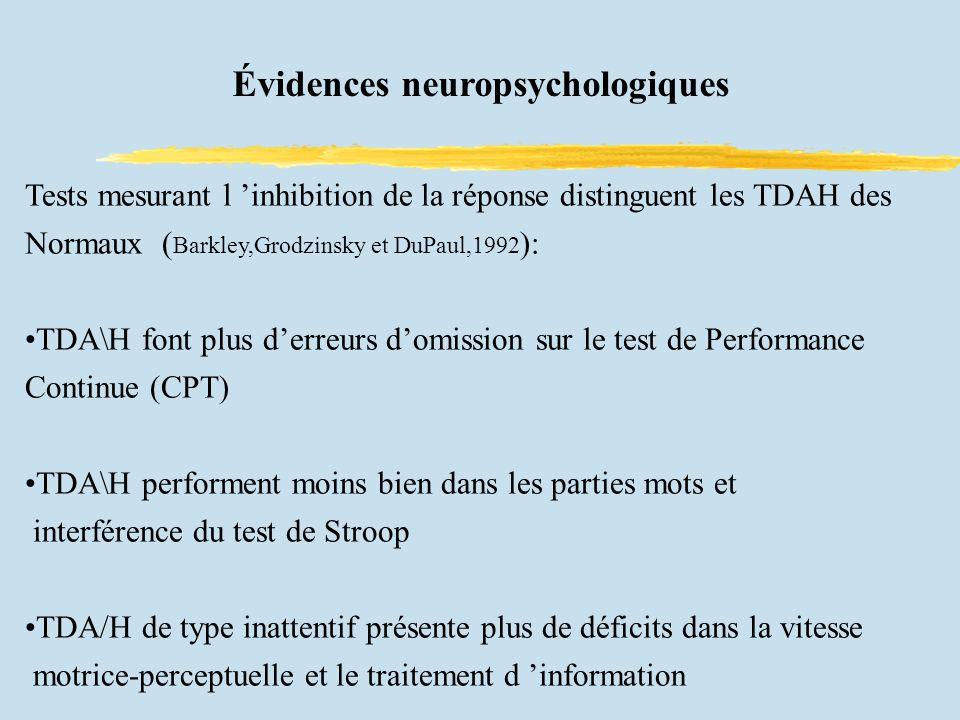 Évidences neuropsychologiques Tests mesurant l inhibition de la réponse distinguent les TDAH des Normaux ( Barkley,Grodzinsky et DuPaul,1992 ): TDA\H