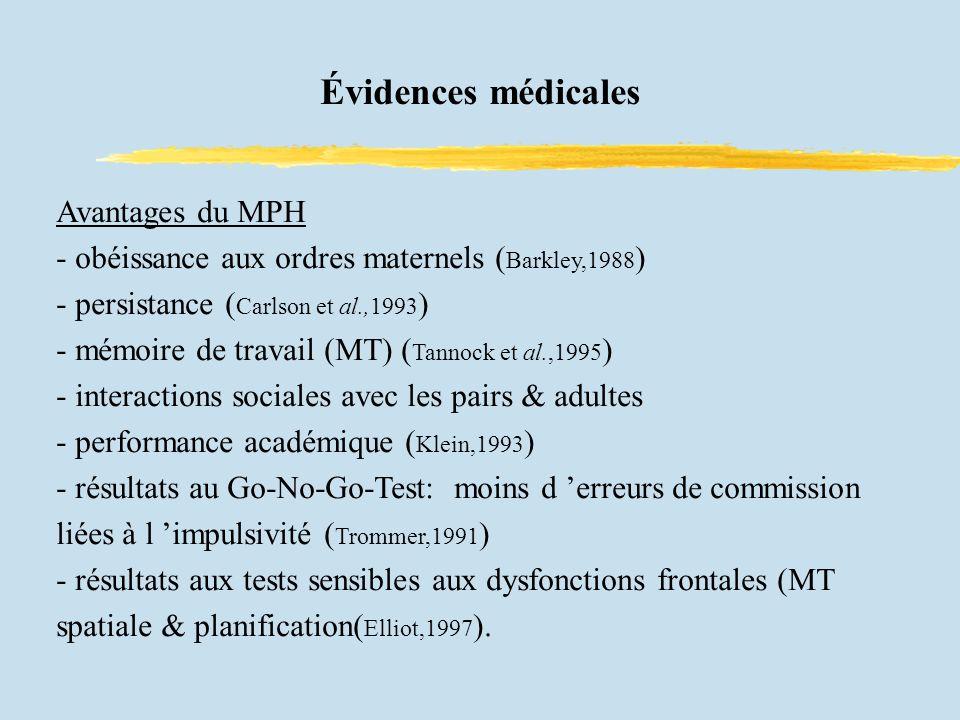 Évidences médicales Avantages du MPH - obéissance aux ordres maternels ( Barkley,1988 ) - persistance ( Carlson et al.,1993 ) - mémoire de travail (MT) ( Tannock et al.,1995 ) - interactions sociales avec les pairs & adultes - performance académique ( Klein,1993 ) - résultats au Go-No-Go-Test: moins d erreurs de commission liées à l impulsivité ( Trommer,1991 ) - résultats aux tests sensibles aux dysfonctions frontales (MT spatiale & planification( Elliot,1997 ).