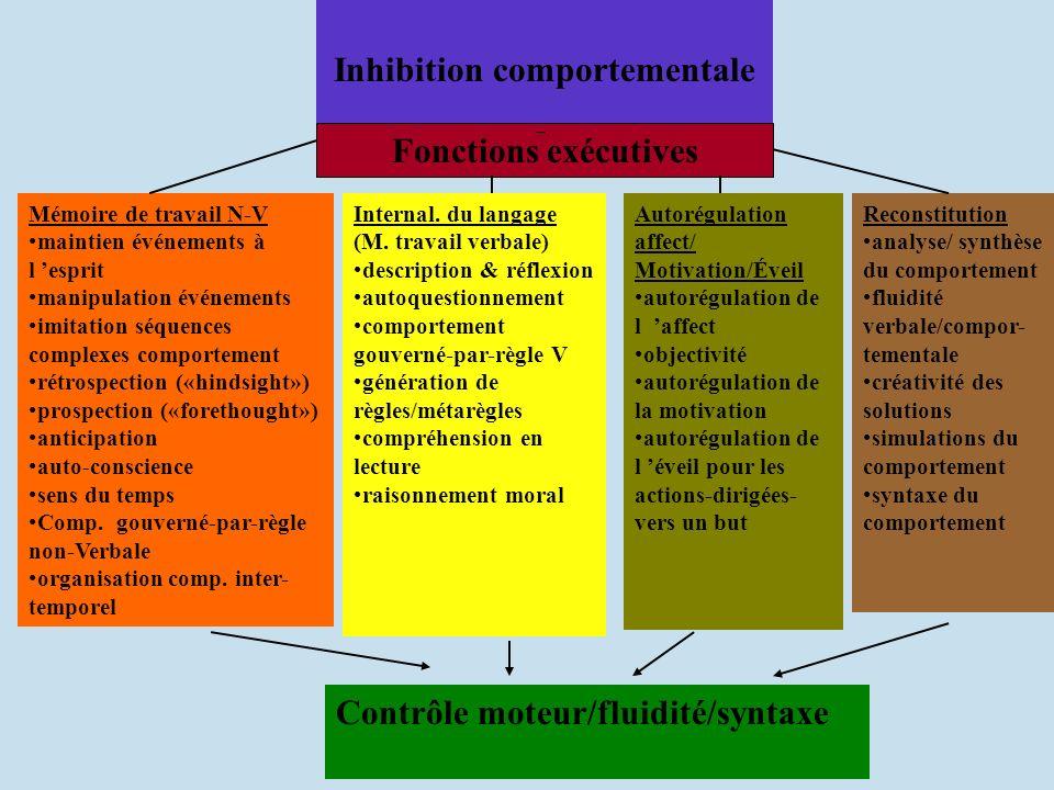 Inhibition comportementale Mémoire de travail N-V maintien événements à l esprit manipulation événements imitation séquences complexes comportement ré