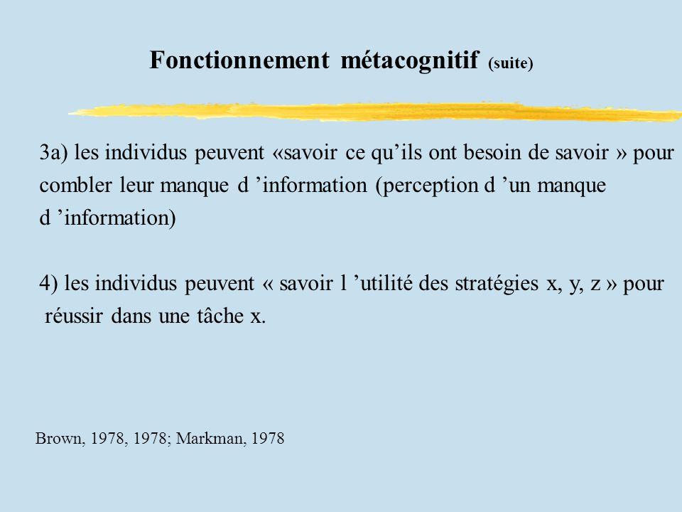 Fonctionnement métacognitif (suite) 3a) les individus peuvent «savoir ce quils ont besoin de savoir » pour combler leur manque d information (perception d un manque d information) 4) les individus peuvent « savoir l utilité des stratégies x, y, z » pour réussir dans une tâche x.