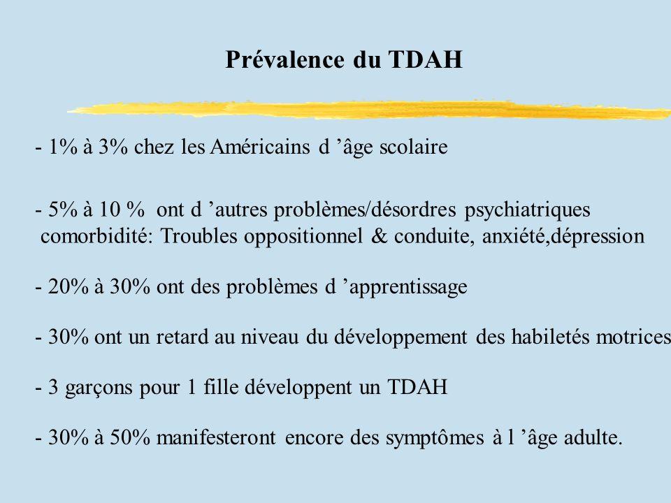Prévalence du TDAH - 1% à 3% chez les Américains d âge scolaire - 5% à 10 % ont d autres problèmes/désordres psychiatriques comorbidité: Troubles oppositionnel & conduite, anxiété,dépression - 20% à 30% ont des problèmes d apprentissage - 30% ont un retard au niveau du développement des habiletés motrices - 3 garçons pour 1 fille développent un TDAH - 30% à 50% manifesteront encore des symptômes à l âge adulte.