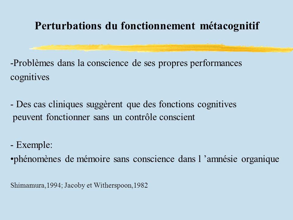 Perturbations du fonctionnement métacognitif -Problèmes dans la conscience de ses propres performances cognitives - Des cas cliniques suggèrent que des fonctions cognitives peuvent fonctionner sans un contrôle conscient - Exemple: phénomènes de mémoire sans conscience dans l amnésie organique Shimamura,1994; Jacoby et Witherspoon,1982