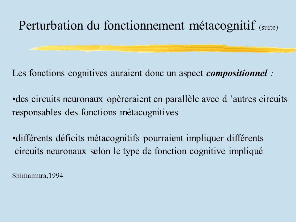 Perturbation du fonctionnement métacognitif (suite) Les fonctions cognitives auraient donc un aspect compositionnel : des circuits neuronaux opèreraient en parallèle avec d autres circuits responsables des fonctions métacognitives différents déficits métacognitifs pourraient impliquer différents circuits neuronaux selon le type de fonction cognitive impliqué Shimamura,1994