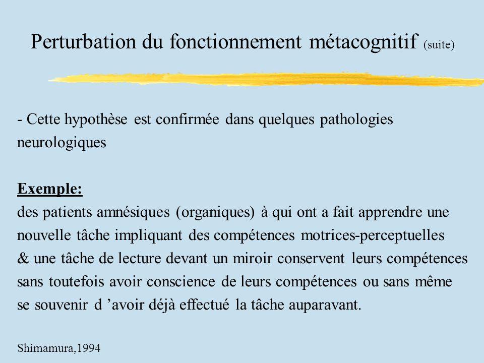 Perturbation du fonctionnement métacognitif (suite) - Cette hypothèse est confirmée dans quelques pathologies neurologiques Exemple: des patients amné