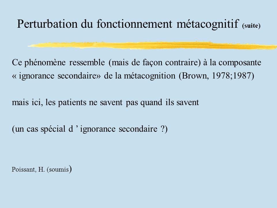 Perturbation du fonctionnement métacognitif (suite) Ce phénomène ressemble (mais de façon contraire) à la composante « ignorance secondaire» de la métacognition (Brown, 1978;1987) mais ici, les patients ne savent pas quand ils savent (un cas spécial d ignorance secondaire ?) Poissant, H.
