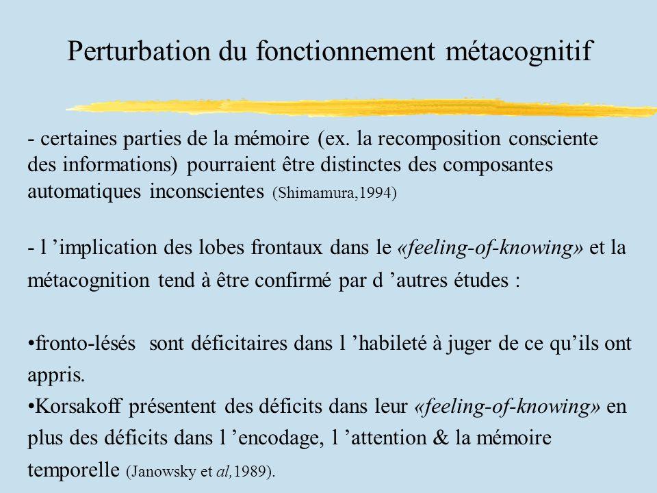 Perturbation du fonctionnement métacognitif - certaines parties de la mémoire (ex.