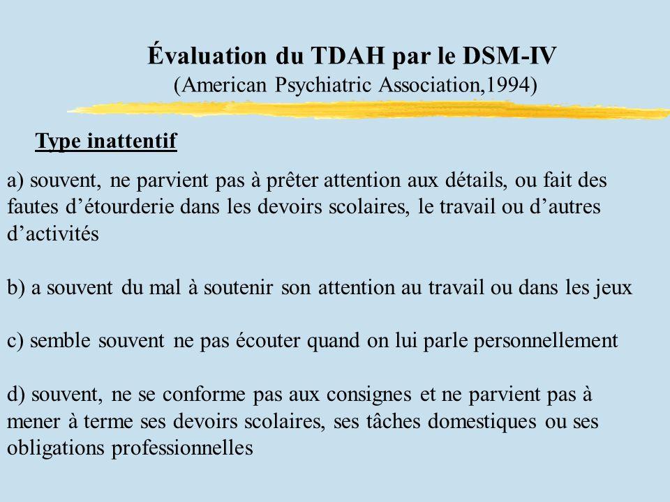Évaluation du TDAH par le DSM-IV (American Psychiatric Association,1994) Type inattentif a) souvent, ne parvient pas à prêter attention aux détails, ou fait des fautes détourderie dans les devoirs scolaires, le travail ou dautres dactivités b) a souvent du mal à soutenir son attention au travail ou dans les jeux c) semble souvent ne pas écouter quand on lui parle personnellement d) souvent, ne se conforme pas aux consignes et ne parvient pas à mener à terme ses devoirs scolaires, ses tâches domestiques ou ses obligations professionnelles