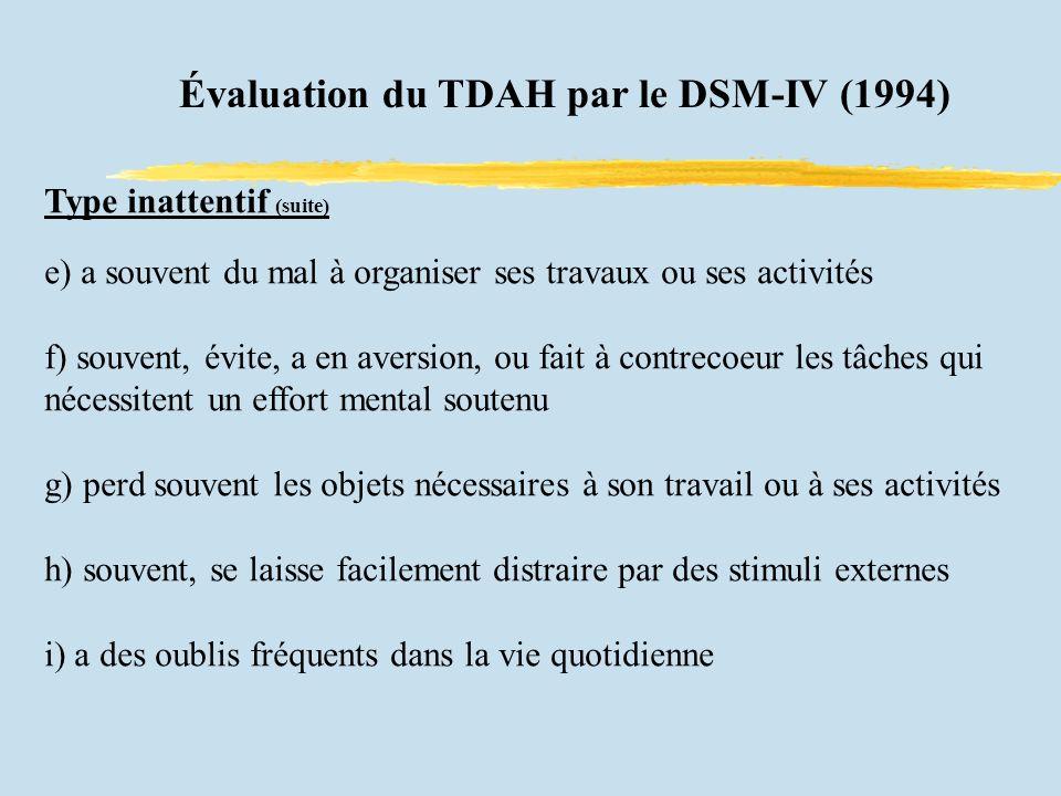 Évaluation du TDAH par le DSM-IV (1994) Type inattentif (suite) e) a souvent du mal à organiser ses travaux ou ses activités f) souvent, évite, a en a