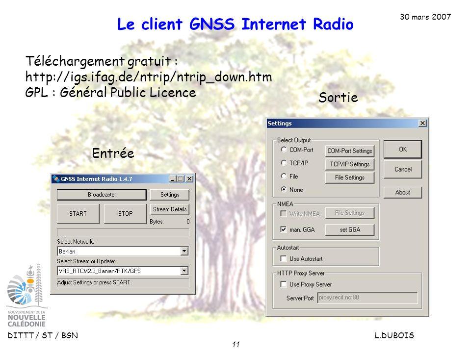 30 mars 2007 DITTT / ST / BGN L.DUBOIS 11 Le client GNSS Internet Radio Téléchargement gratuit : http://igs.ifag.de/ntrip/ntrip_down.htm GPL : Général