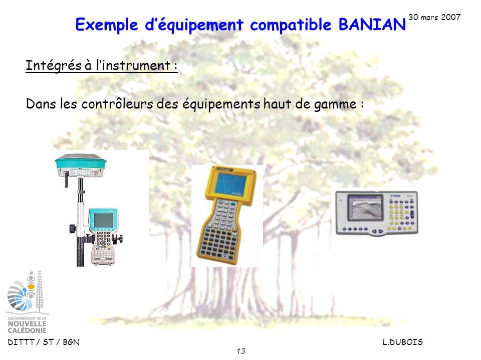 30 mars 2007 DITTT / ST / BGN L.DUBOIS 13 Exemple déquipement compatible BANIAN Intégrés à linstrument : Dans les contrôleurs des équipements haut de