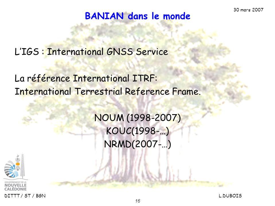 30 mars 2007 DITTT / ST / BGN L.DUBOIS 16 BANIAN dans le monde LIGS : International GNSS Service La référence International ITRF: International Terres
