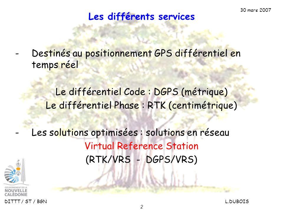 30 mars 2007 DITTT / ST / BGN L.DUBOIS 2 Les différents services -Destinés au positionnement GPS différentiel en temps réel Le différentiel Code : DGP