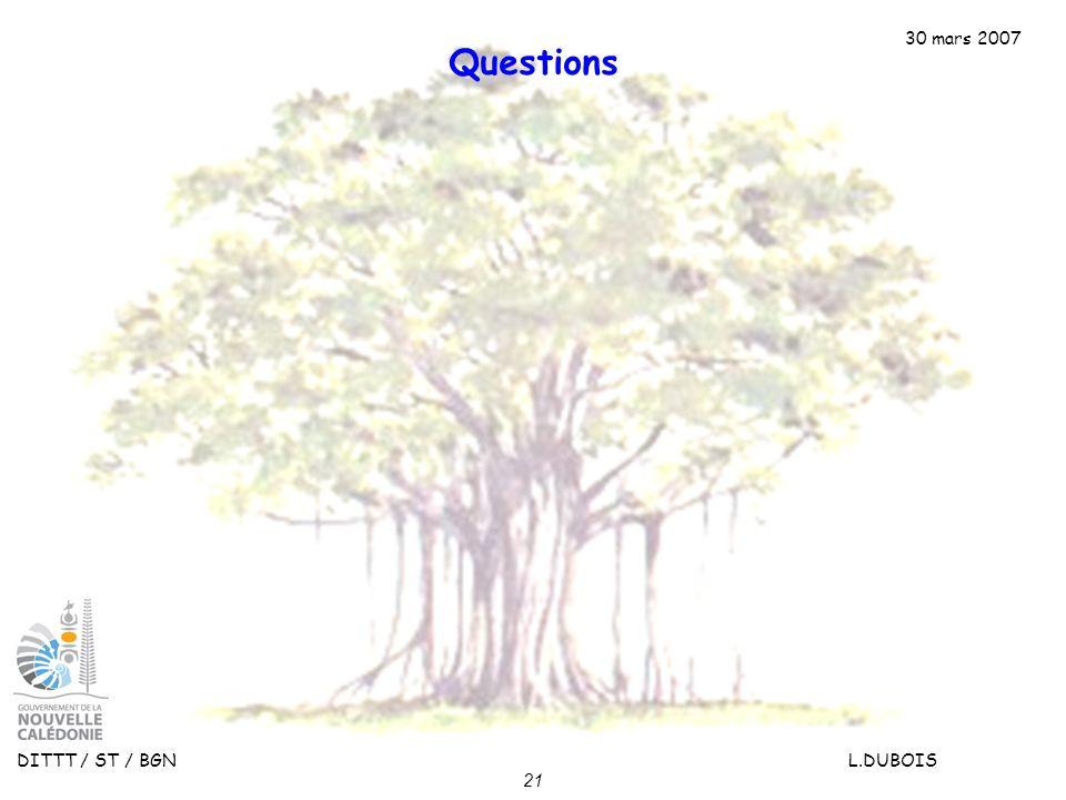 30 mars 2007 DITTT / ST / BGN L.DUBOIS 21 Questions