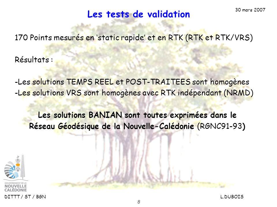 30 mars 2007 DITTT / ST / BGN L.DUBOIS 8 Les tests de validation 170 Points mesurés en static rapide et en RTK (RTK et RTK/VRS) Résultats : -Les solut