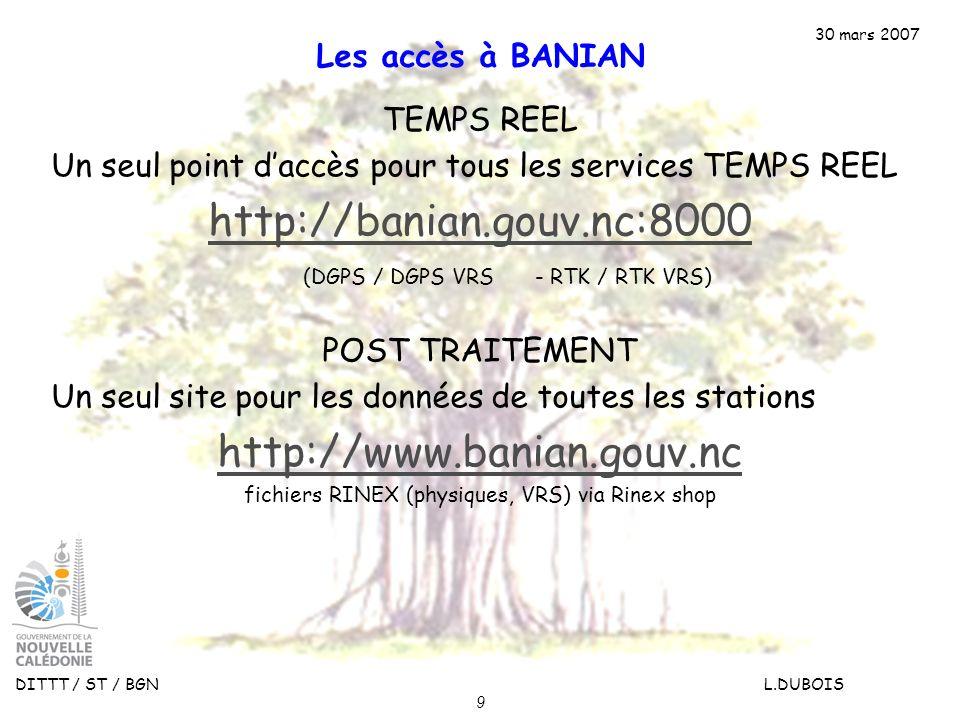 30 mars 2007 DITTT / ST / BGN L.DUBOIS 9 Les accès à BANIAN TEMPS REEL Un seul point daccès pour tous les services TEMPS REEL http://banian.gouv.nc:80