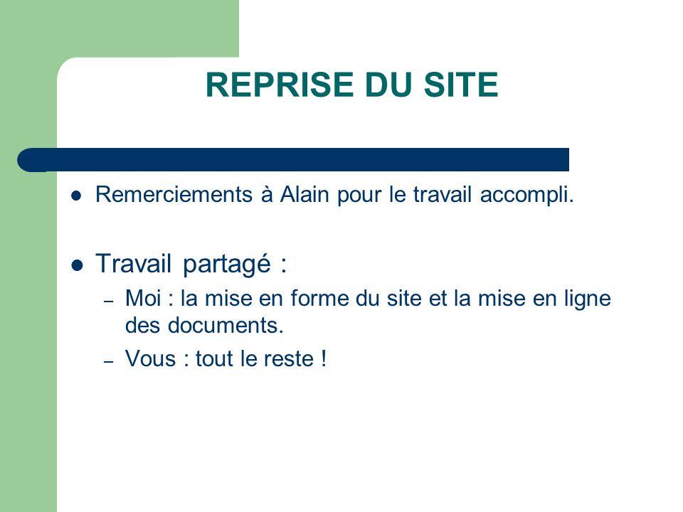 REPRISE DU SITE Remerciements à Alain pour le travail accompli. Travail partagé : – Moi : la mise en forme du site et la mise en ligne des documents.