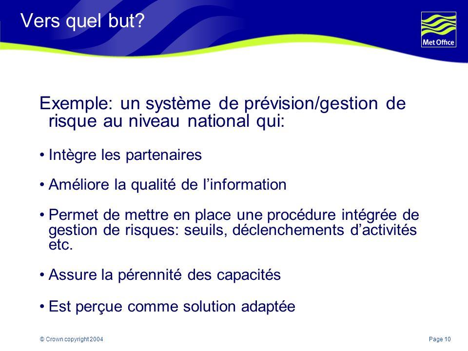 Page 10© Crown copyright 2004 Vers quel but? Exemple: un système de prévision/gestion de risque au niveau national qui: Intègre les partenaires Amélio