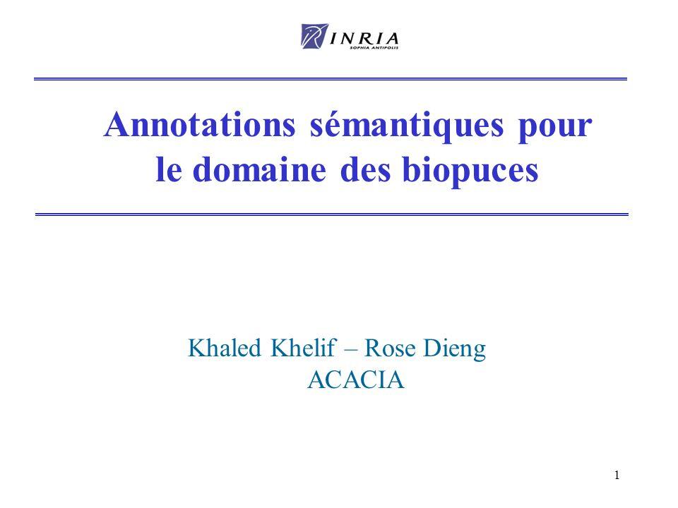 1 Annotations sémantiques pour le domaine des biopuces Khaled Khelif – Rose Dieng ACACIA