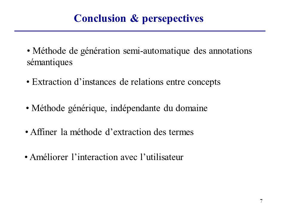 7 Conclusion & persepectives Méthode de génération semi-automatique des annotations sémantiques Extraction dinstances de relations entre concepts Méth