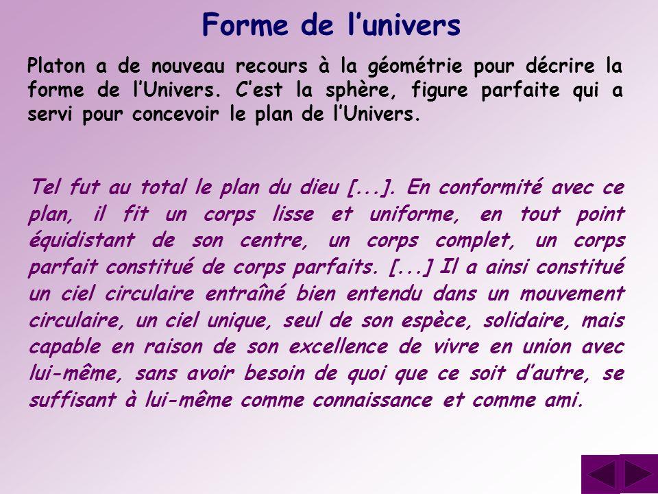 Forme de lunivers Platon a de nouveau recours à la géométrie pour décrire la forme de lUnivers. Cest la sphère, figure parfaite qui a servi pour conce