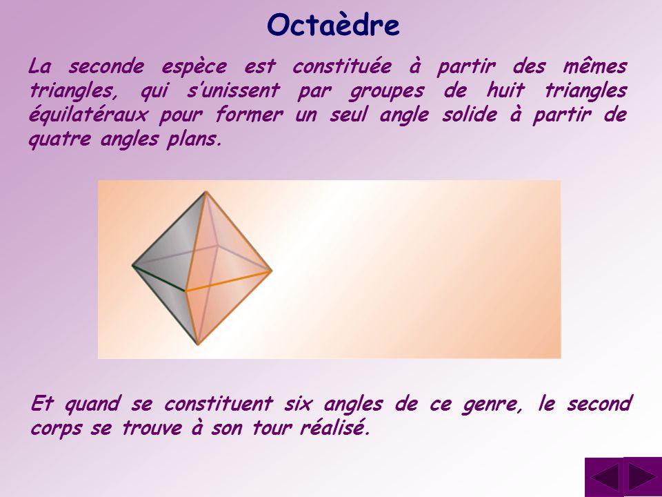 Octaèdre La seconde espèce est constituée à partir des mêmes triangles, qui sunissent par groupes de huit triangles équilatéraux pour former un seul a