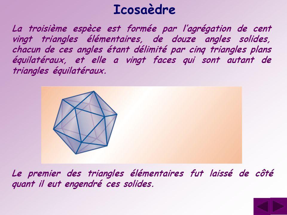 Icosaèdre La troisième espèce est formée par lagrégation de cent vingt triangles élémentaires, de douze angles solides, chacun de ces angles étant dél