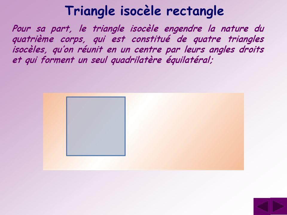 Triangle isocèle rectangle Pour sa part, le triangle isocèle engendre la nature du quatrième corps, qui est constitué de quatre triangles isocèles, qu