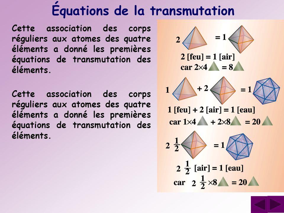 Équations de la transmutation Cette association des corps réguliers aux atomes des quatre éléments a donné les premières équations de transmutation de