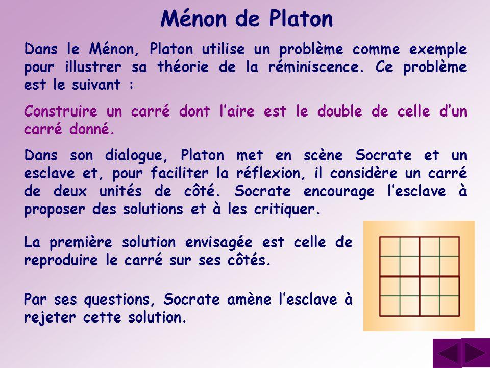 Ménon de Platon Dans le Ménon, Platon utilise un problème comme exemple pour illustrer sa théorie de la réminiscence. Ce problème est le suivant : Con