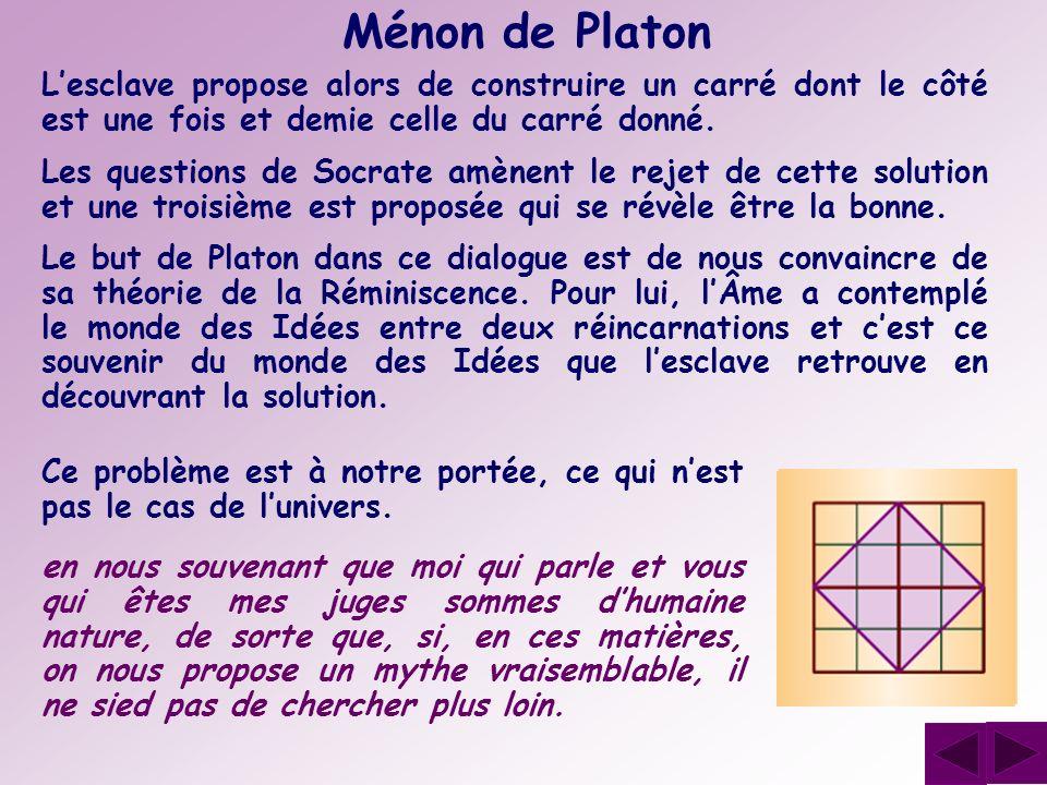 Ménon de Platon Lesclave propose alors de construire un carré dont le côté est une fois et demie celle du carré donné. Les questions de Socrate amènen
