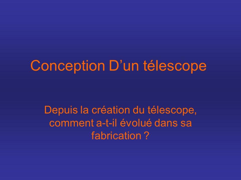 Conception Dun télescope Depuis la création du télescope, comment a-t-il évolué dans sa fabrication ?