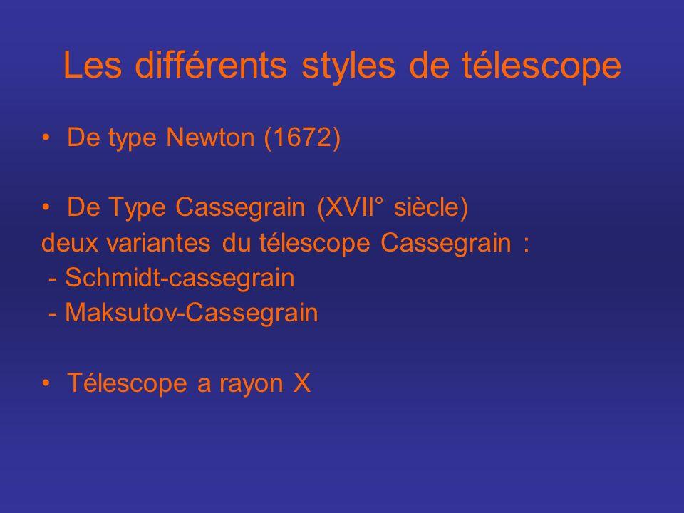 Les différents styles de télescope De type Newton (1672) De Type Cassegrain (XVII° siècle) deux variantes du télescope Cassegrain : - Schmidt-cassegra