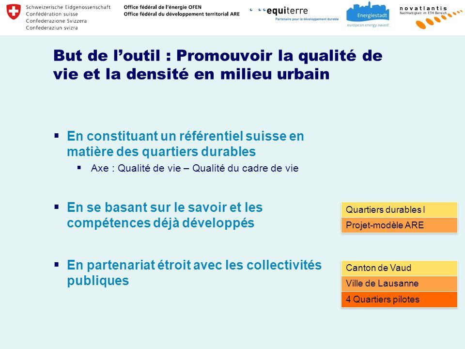 But de loutil : Promouvoir la qualité de vie et la densité en milieu urbain En constituant un référentiel suisse en matière des quartiers durables Axe : Qualité de vie – Qualité du cadre de vie En se basant sur le savoir et les compétences déjà développés En partenariat étroit avec les collectivités publiques Quartiers durables I (NaQuII) Projet-modèle ARE Canton de Vaud Ville de Lausanne 4 Quartiers pilotes