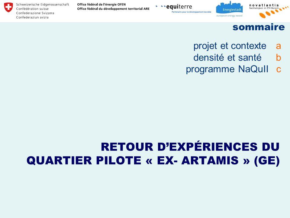 RETOUR DEXPÉRIENCES DU QUARTIER PILOTE « EX- ARTAMIS » (GE) projet et contextea densité et santéb programme NaQuIIc sommaire