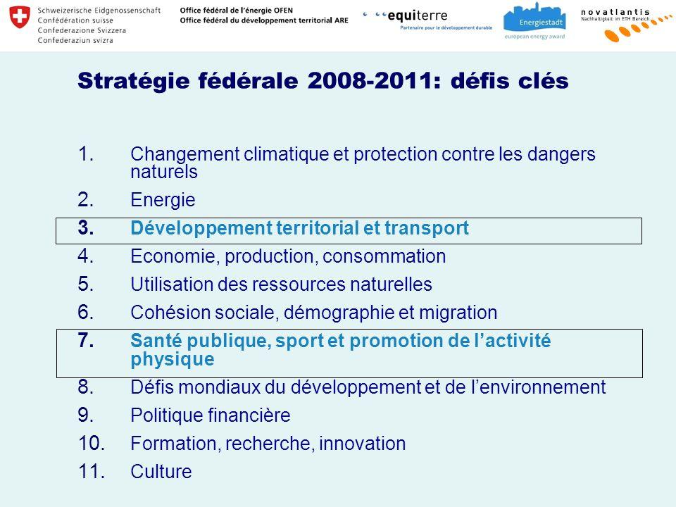 Stratégie fédérale 2008-2011: défis clés 1.