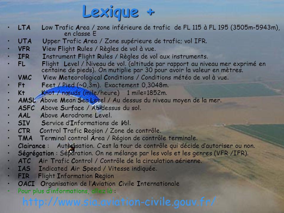 Lexique + LTA Low Trafic Area / zone inférieure de trafic de FL 115 à FL 195 (3505m-5943m), en classe E UTA Upper Trafic Area / Zone supérieure de tra