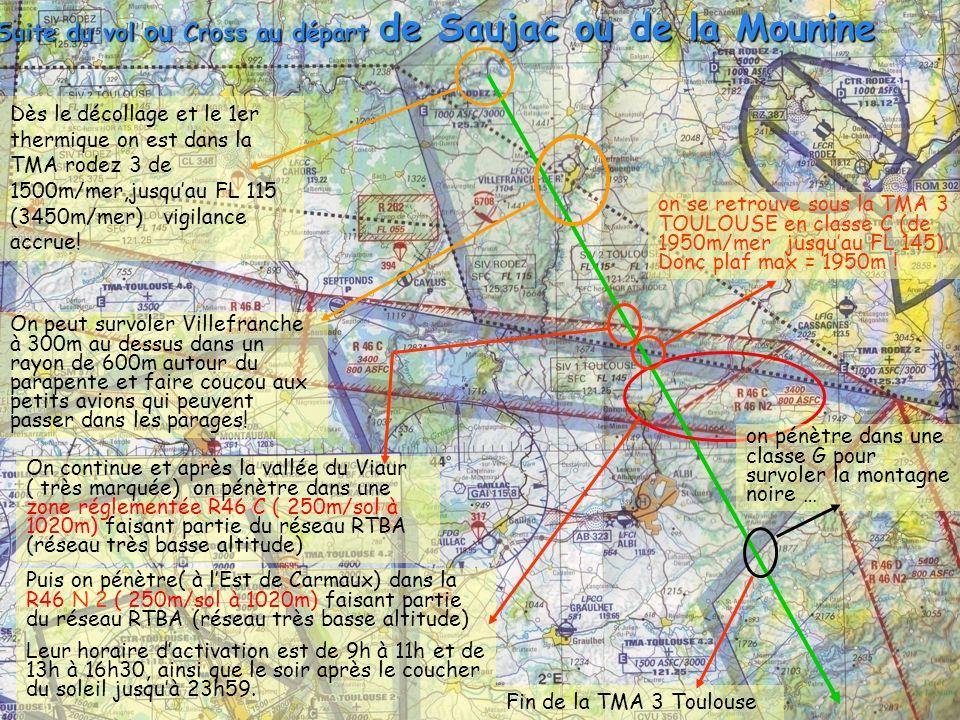On peut survoler Villefranche à 300m au dessus dans un rayon de 600m autour du parapente et faire coucou aux petits avions qui peuvent passer dans les
