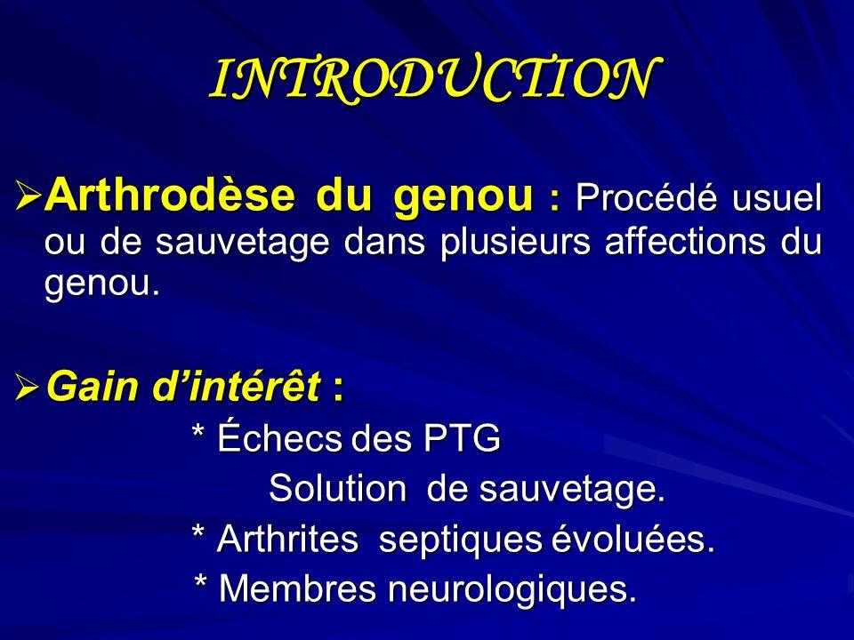 INTRODUCTION Arthrodèse du genou : Procédé usuel ou de sauvetage dans plusieurs affections du genou. Arthrodèse du genou : Procédé usuel ou de sauveta