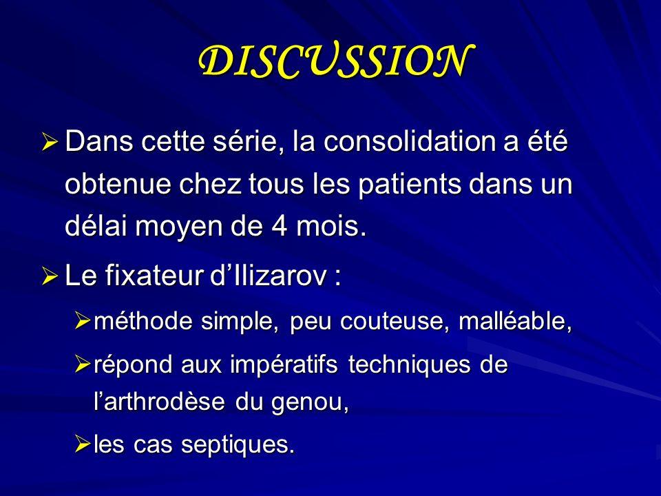 DISCUSSION Dans cette série, la consolidation a été obtenue chez tous les patients dans un délai moyen de 4 mois. Dans cette série, la consolidation a
