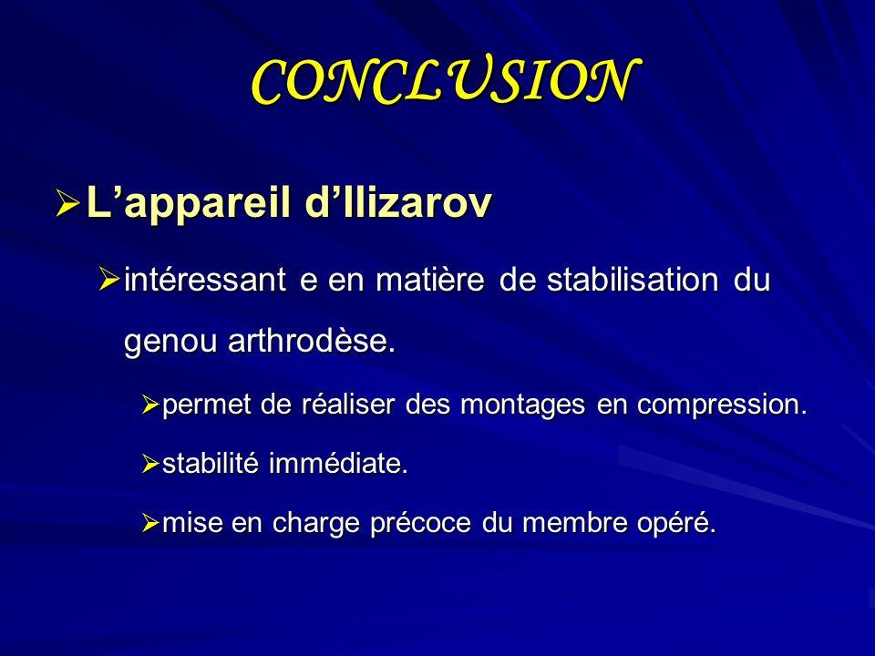 CONCLUSION Lappareil dIlizarov Lappareil dIlizarov intéressant e en matière de stabilisation du genou arthrodèse. intéressant e en matière de stabilis
