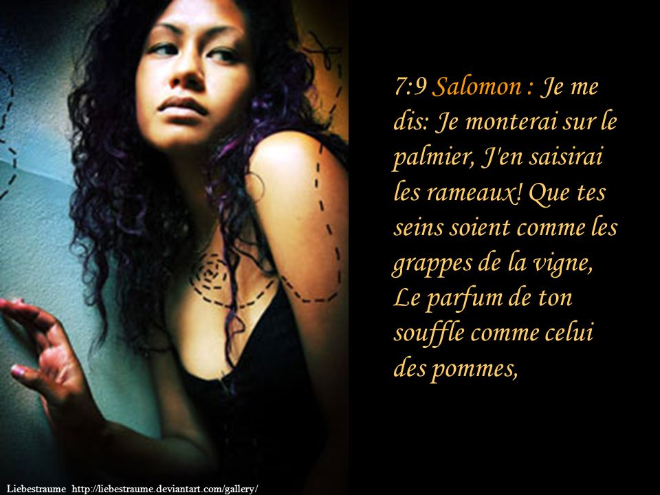 7:8 Salomon : Ta taille ressemble au palmier, Et tes seins à des grappes. Commentaire : Ressemble au palmier. La stature élancée de cet arbre est l'im