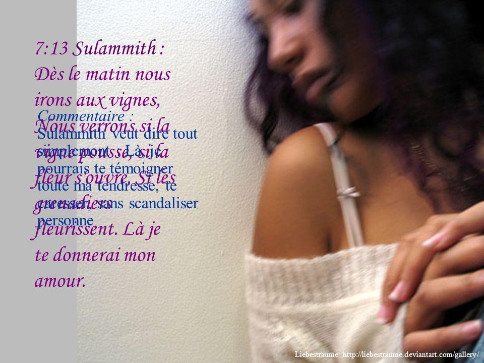 7:12 Sulammith : Viens, mon bien- aimé, sortons dans les champs, Demeurons dans les villages.