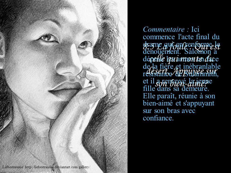 8:4 Sulammith : Je vous en conjure, filles de Jérusalem, Ne réveillez pas, ne réveillez pas l'amour, Avant qu'elle le veuille. Commentaire : Et elle a
