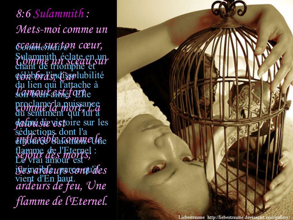 Sulammith : Je t'ai réveillé sous le pommier; Là ta mère t'a enfantée, C'est là qu'elle t'a enfantée, qu'elle t'a donné le jour. Commentaire : Sulammi