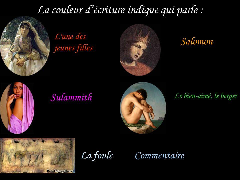Une jeune paysanne, nommée Sulammith, a été emmenée dans le palais de Salomon, pour entrer dans son sérail. Salomon paraît, loue sa beauté. En réponse