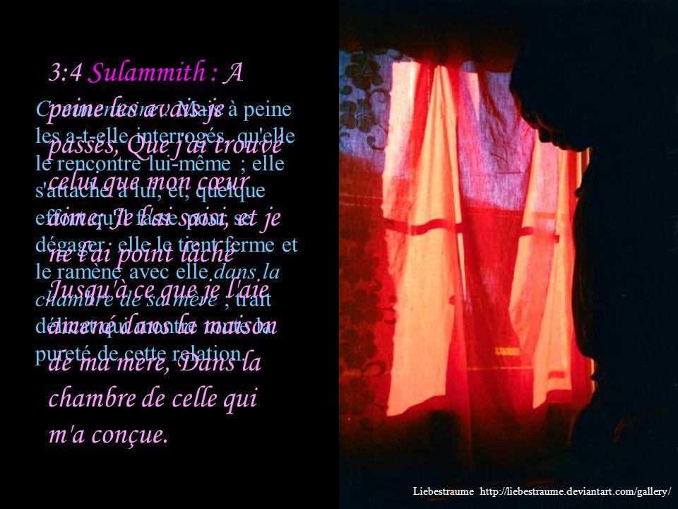 3:3 Sulammith : Les gardes qui font la ronde dans la ville m ont rencontrée: Avez-vous vu celui que mon cœur aime.