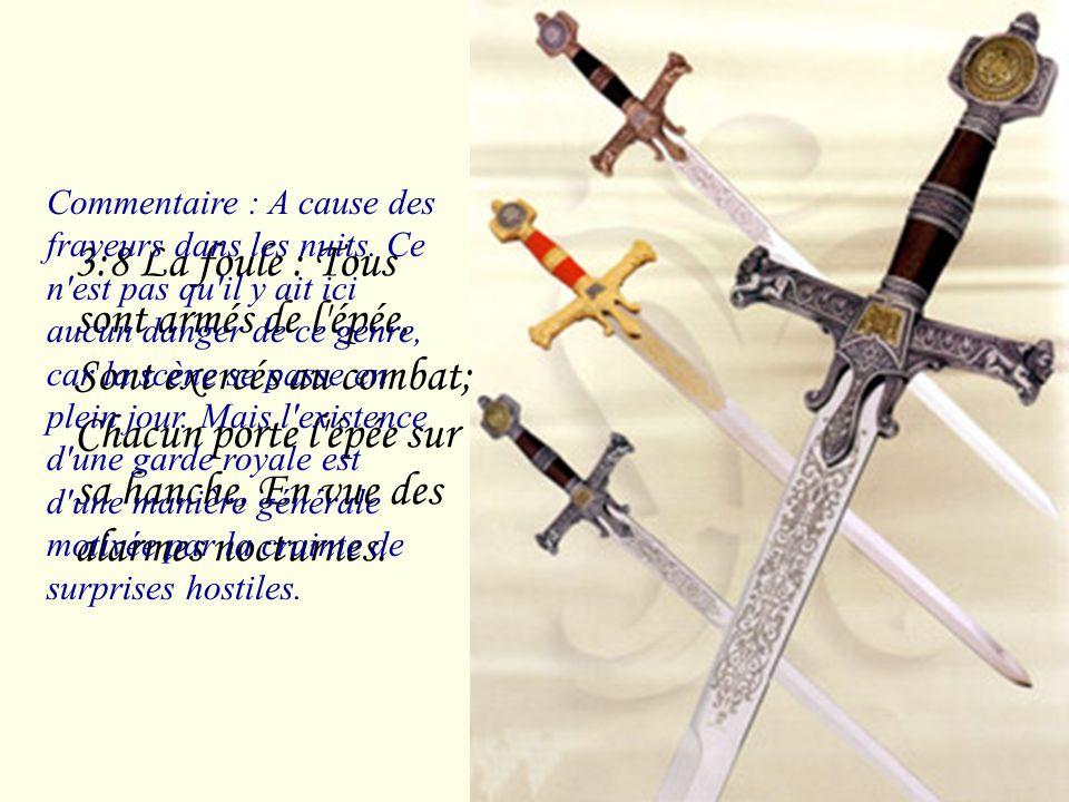 3:7 La foule :Voici la litière de Salomon, Et autour d'elle soixante vaillants hommes, Des plus vaillants d'Israël. Commentaire : Voici la litière de