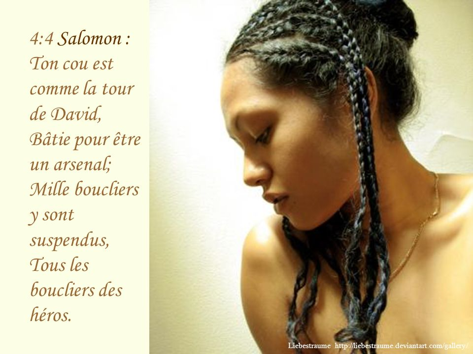 4:3 Salomon : Tes lèvres sont comme un fil cramoisi, Et ta bouche est charmante; Ta joue est comme une moitié de grenade, Derrière ton voile.