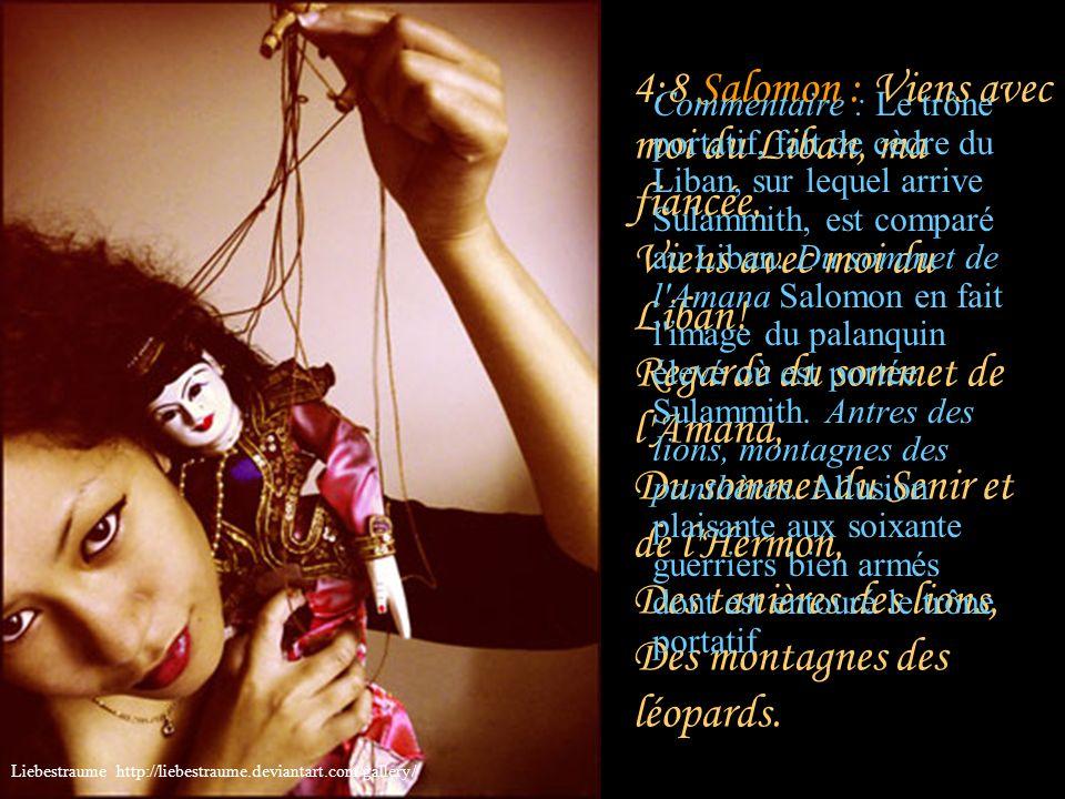 4:7 Salomon : Tu es toute belle, mon amie, Et il n'y a point en toi de défaut. Commentaire : Salomon reprend sa description, interrompue par cette exc